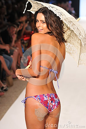MIAMI - JULY 14: Model walks runway at the L Space Swimsuit Collection for Spring/ Summer 2012 Editorial Stock Photo