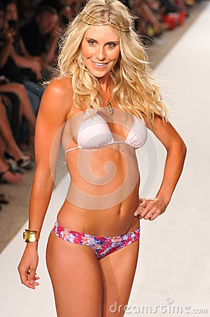 MIAMI - JULY 14: Model walks runway at the L Space Swimsuit Collection for Spring/ Summer 2012 Editorial Image