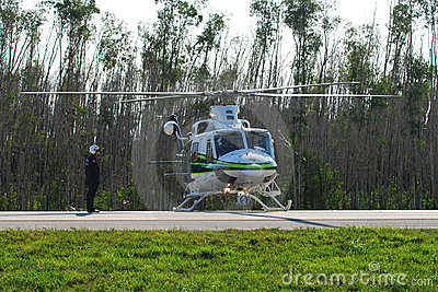 Miami police helicopter Editorial Stock Photo
