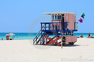 Miami South Beach Lifeguard Stand Editorial Stock Photo