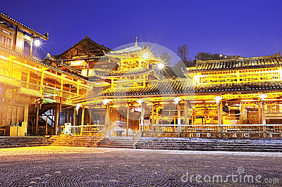 Miao minority wooden building