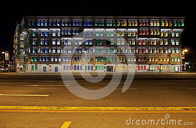 MICA Building in Singapore at night Editorial Image