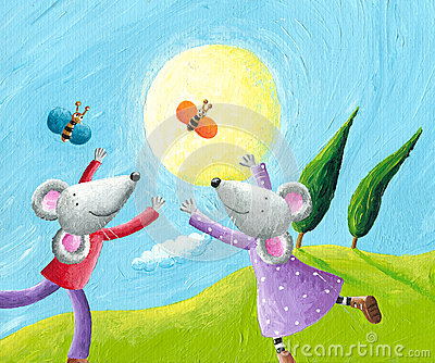 Mice in love running in the meadow