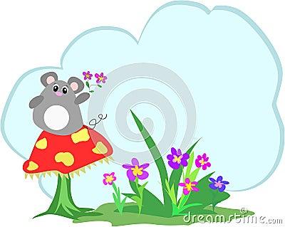 Mice, Mushroom, Flowers and Text Cloud