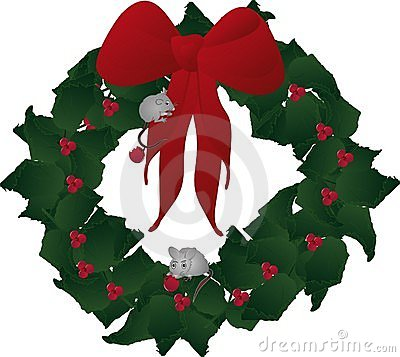 Mice playing and eating festive holly wreath