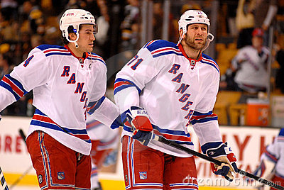 Michael Del Zotto and Mike Rupp NY Rangers Editorial Image