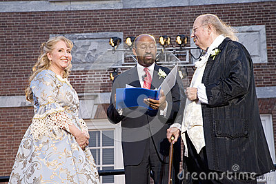 Michael Nutter marrying Ben Franklin and Betsy Ross Editorial Stock Image