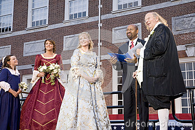 Michael Nutter marrying Ben Franklin and Betsy Ross Editorial Stock Photo