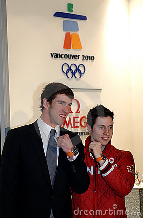 Michael Phelps and Alexandre Bilodeau Editorial Stock Image