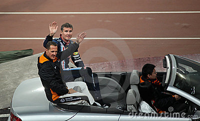 Michael Schumacher (GER) and David Coulthard (GB) Editorial Stock Image