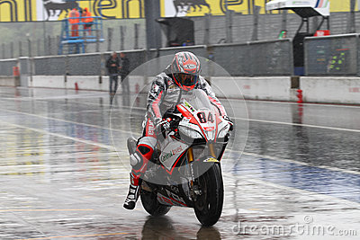 Michel Fabrizio #84 on Aprilia RSV4 1000 Factory Red Devils Roma Superbike WSBK Editorial Stock Photo