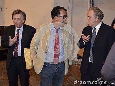 Michele Santoro, Sandro Ruotolo and Carlo Freccero Editorial Photography