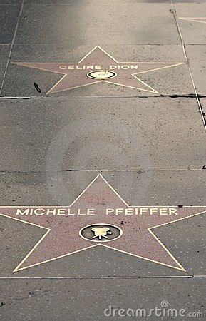 Michelle Pfeiffer s and Celine Dion s stars Editorial Image