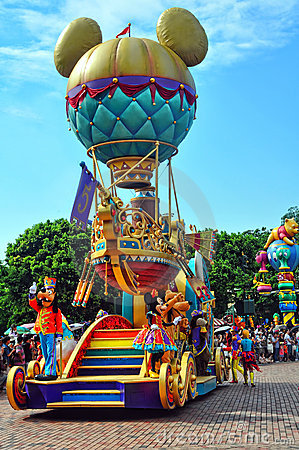 Mickey balloon cart on disney parade Editorial Image