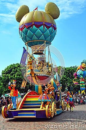 Mickey balloon cart on disney parade Editorial Image