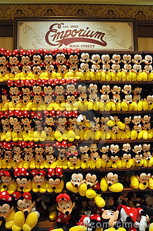 Mickey and Minnie Mouse Plush in Disney Store Editorial Stock Photo