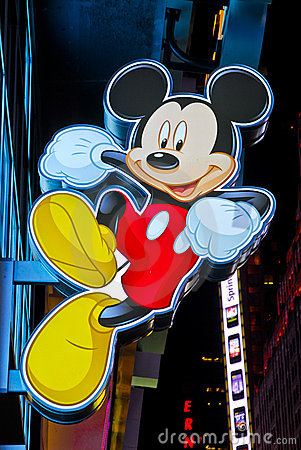 Mickey Mouse sign at Times Square Disney Store Editorial Stock Image