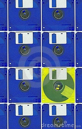 Micro floppy disc yellow blue