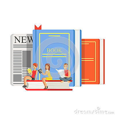 Micro young women and man sitting on a giant books and newspaper, people enjoy reading vector Illustration Vector Illustration