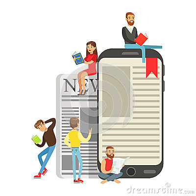 Micro young women and men sitting on a giant electronic book and newspaper, people enjoy reading vector Illustration Vector Illustration
