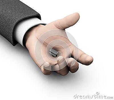 Microchip in mans hand