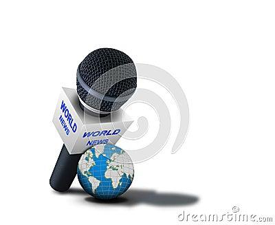 Microfone do relatório das notícias do mundo