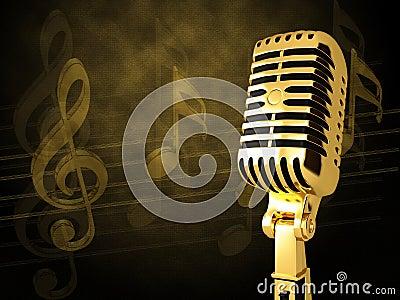 Microfone do vintage do ouro