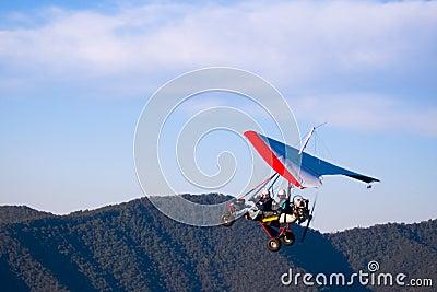 Microlight aircraft ascending