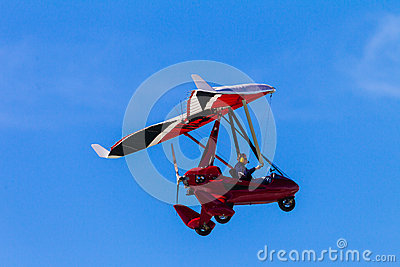 Microlight Aircraft Pilot Blue Sky Red Editorial Stock Image