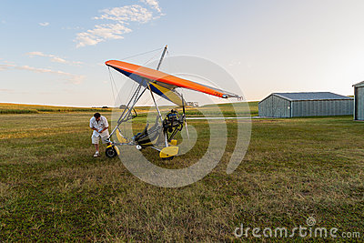 Microlight Pilot Aircraft Airstrip Editorial Image