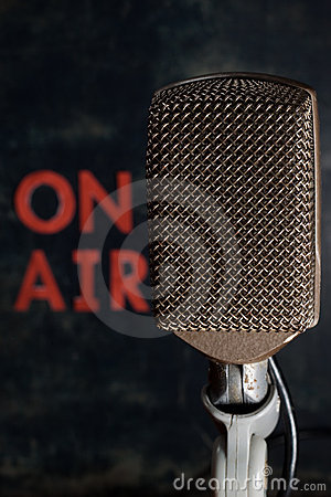 Microphone with On Air Background Vertical