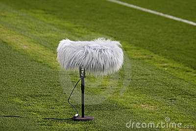 Microphone boom at a football stadium