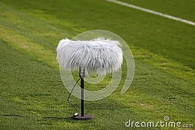 Microphone boom at a football stadium