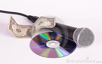 Microphone dollar and compact disk disk