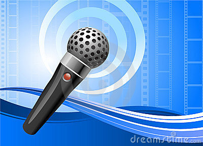 Microphone on film reel background