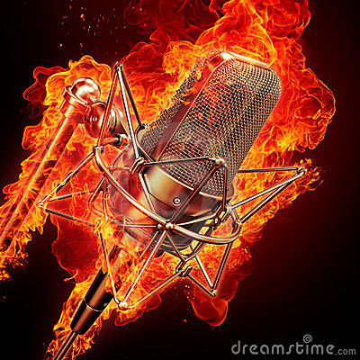 Free Microphone & Fire Royalty Free Stock Photo - 16019915