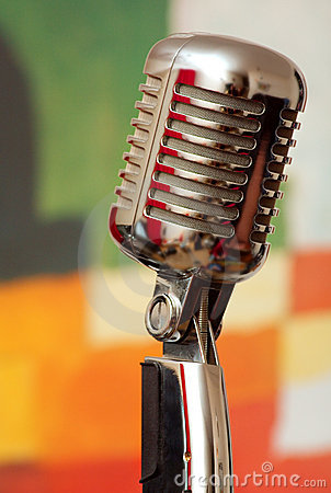 Microphone on floor stand