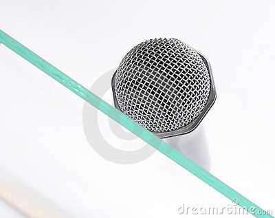 Microphone on the glass table