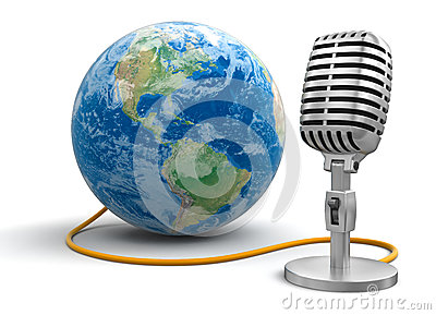 Microphone and Globe (clipping path included)