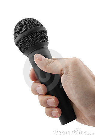 Microphone in hand isolated on white
