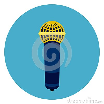 Free Microphone Icon On Round Blue Background Royalty Free Stock Photo - 103185285