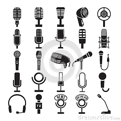 Free Microphone Icons Set Royalty Free Stock Images - 45489229