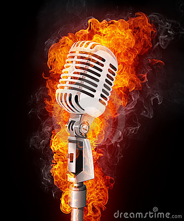 Free Microphone In Fire Stock Image - 16413121