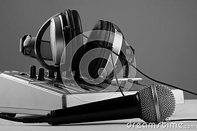 Microphone, mixer and headphones