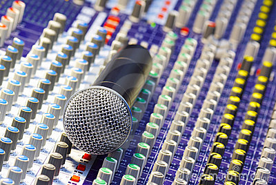 Microphone on the mixing desk