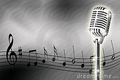 Microphone and musical notes