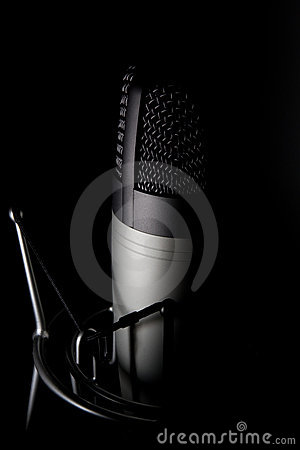 Free Microphone On Black Background Royalty Free Stock Images - 5494219