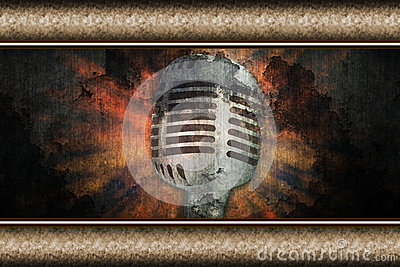 Microphone over grunge wall