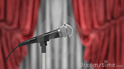 Microphone and red curtains
