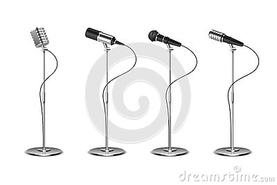 Microphone set. Standing microphones audio equipment. Concept and karaoke music mics vector isolated collection Vector Illustration
